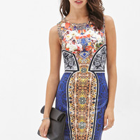 Abstract Floral Bodycon Dress
