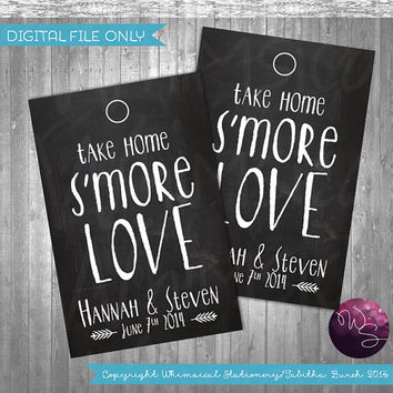 "S'More Love Favor Tags ""Quirky"" (Printable File Only) S'More Kit Wedding Favor Tags; Printable Wedding Tags; DIY Wedding Tags"