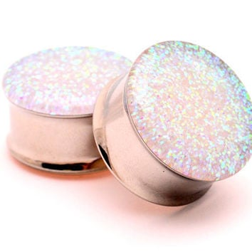 "Embedded Pearl Glitter Plugs gauges - 00g, 7/16"", 1/2, 9/16, 5/8, 3/4, 7/8, 1 inch"