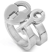 Lock and Key to My Heart - Love Ring / Promise Ring Size Width 14mm (SIZE 7) - 2-in-1 Top Quality 316L Stainless Steel Womens Rings Size 6, 7, 8, 9 & 10. Stainless Steel Commitment Rings for women rings for teens girls. Purity Ring or Anniversary Gifts for