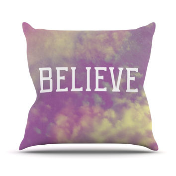 "Rachel Burbee ""Believe"" Purple Clouds Throw Pillow"