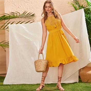 Yellow Lace Panel Ruffle Hem Belted Boho Midi Dress Women Sleeveless High Waist Ladies Fringe Fit and Flare Dresses