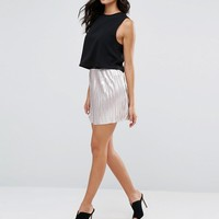 River Island Pleated Metallic Mini Skirt at asos.com