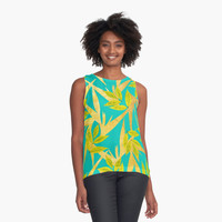 'Gold & Teal Florals #redbubble #lifestyle' Contrast Tank by Uma Gokhale