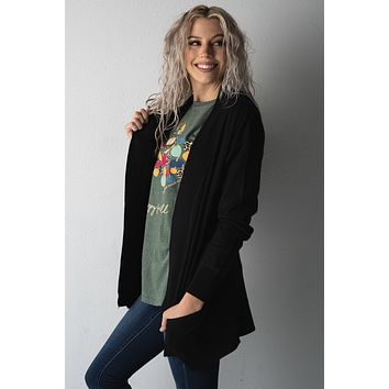 Basic Solid Addy Cardigan in BLACK (S-XL)