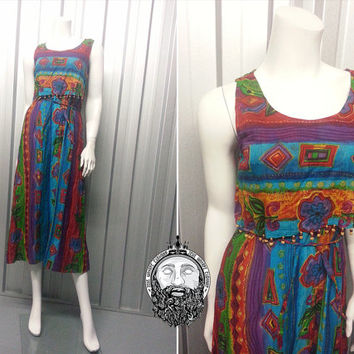 Vintage 70s PHOOL Indian Cotton Gauze Hippy Dress Aztec Print Multicolored Tie Dye Boho Chic Made in India Hippie Clothing Wooden Beads