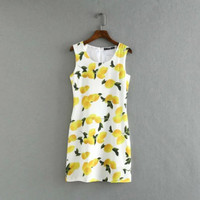 Ladies' sweet lemon print  bodyocn O neck sleeveless mini dress 2016 Summer Female casual sundresses with lining #Z034
