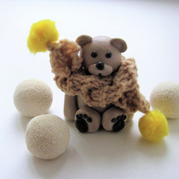 Miniature teddy bear Doll house toy, doll house teddy bear in a crocheted scarf cute teddy bear with love for him for her