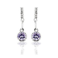 Lavender Cubic Zirconia Dangle Earrings