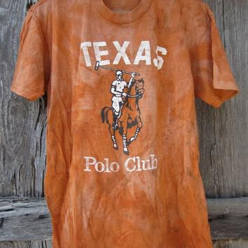 80's UNIQUE Distressed Faded Texas Polo Club T-Shirt in Orange, S-M // Texas Barn Find