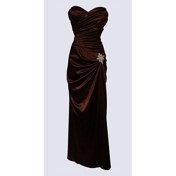 Brown Satin Prom Dress Pleated Bodice Strapless Sweetheart Neck
