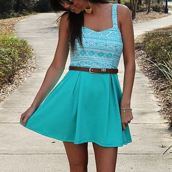 Native Flare Dress, Mint