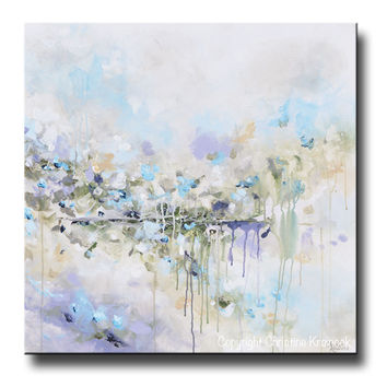 ORIGINAL Art Abstract Painting Blue White Grey Lavender Coastal Modern Diptych Wall Art Decor 30x30""