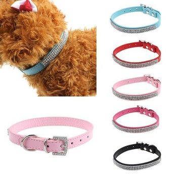 MDIGYN5 Super Deal Pet Dog  Exquisite Diamond Adjustable Rhinestone Buckle Dog Puppy Pet Collars XT