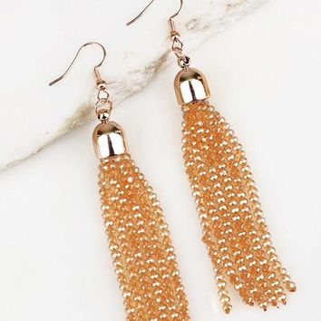 Bold Streak Topaz Tassel Earrings