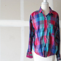 vintage western shirt flannel shirt flannel blouse women's vintage clothing