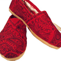 Handpainted Custom Toms Shoes Cool Paisley Doodle by FancyToms