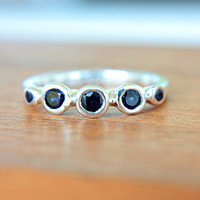Natural Blue Sapphire Ring Sterling Silver Sapphire Gem Ring Natural Blue Sapphire Ring Engagement Size 4.25  Promise Ring