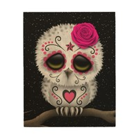Cute Pink Day of the Dead Sugar Skull Owl Stars