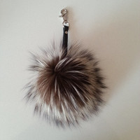 Real Silver Fox Pompom Bag Charm Key Ring Key Chain with Genuine Leather strap