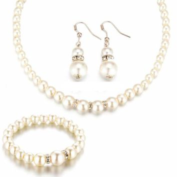 Simulated Pearl Three Piece Jewelry Set