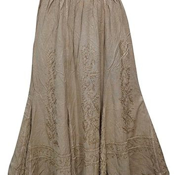 Mogul Women's Hippie Skirt Brown Embroidered Rayon Flare Hippie Gypsy Long Skirts