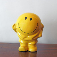 70s Yellow Happy Face Bank, Have A Nice Day Piggy Bank