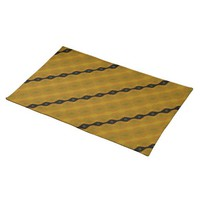 Modern Abstract Striped Black Gold Olive Cloth Placemat