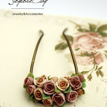 brown polymer clay rose hair stick, hair accessories ,handmade flowers