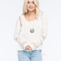 Patrons Of Peace Lace Crochet Womens Top Ivory  In Sizes