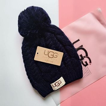 "Hot Sale ""UGG"" Winter Popular Women Men Knit Hat Warm Cap Navy Blue"