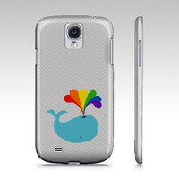 MAGIC SPOUT Samsung Galaxy S3 or S4 Case Cover Barely There SnapOn whale rainbow chevrons gray aqua