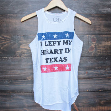 Chaser 'I Left My Heart In Texas' tank in white