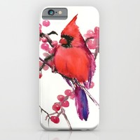 Red Cardinal and Berries iPhone & iPod Case by SurenArt