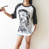 Marilyn Monroe Baseball Tee Shirt Long Sleeve Men Women T-Shirt Size S M L
