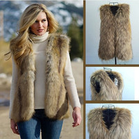 Women Sleeveless Faux Fur Long Vest Jacket Coat Waistcoat Outerwear Top S-XL () = 1708615172