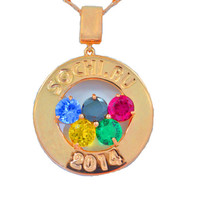 Sochi Olympics Medallion 2014 Gemstones Pendant 14Kt Yellow Gold Plated