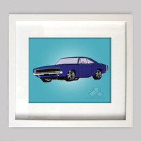 Blue Dodge Charger 8x10 Illustration for Boys Room Decor, Nursery Wall Art, Boys Room Art, or Toddler Boys Room(Digtial Download)