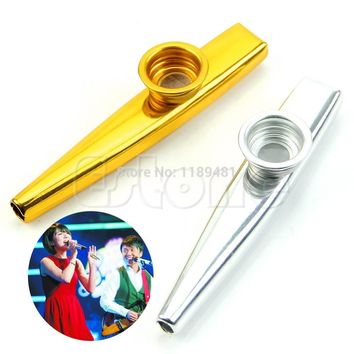 Free Shipping Metal Golden Kazoo Mouth Harmonica Flute Kids Party Gift Kid Musical Instrument