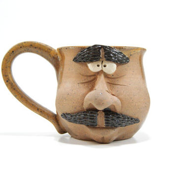 Warm brown pottery mug, face mug, mustache pottery coffee cup, stoneware mug