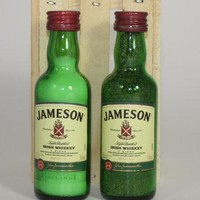 Salt & Pepper Shakers Upcycled from Jameson Irish Whiskey Glass Mini Liquor Bottles