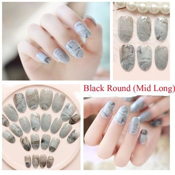 TKGOES 24Pcs/set Marble Design Black Round Mid Long Fake Nails French Nail Tips Acrylic Full Bride Nails Faux ongels Free Glue