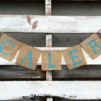 Personalized Burlap Banner, Baby Banner, Baby Shower Decor, Rustic Wedding Decor, Save the Date Banner, Gender Reveal Banner, Photo Prop