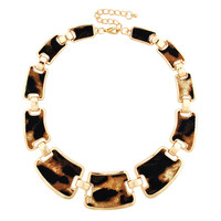 Punk Statement Leopard Printed Bib Necklace