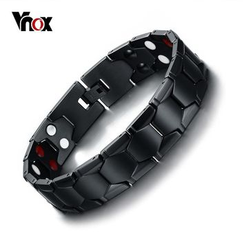 Vnox Magnetic Therapy Bracelet Men Jewelry Black Power Stainless Steel Bracelets & Bangles Health Care Jewelry Free Box
