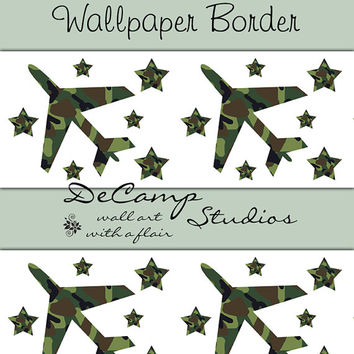 CAMO ARMY AIRPLANE Stars Wallpaper Border Wall Decals Teen Boys Hunting Room Decor Kids Bedroom Green Camouflage Aviator Plane Art Stickers
