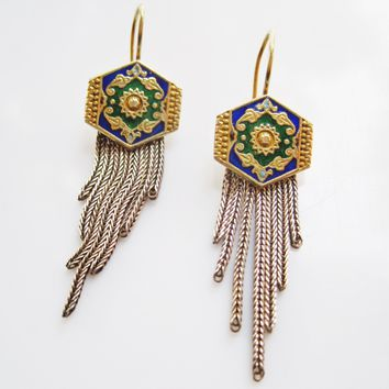 Vintage Turkish Enamel Earrings with Graduated Tassel of Foxtail Chains