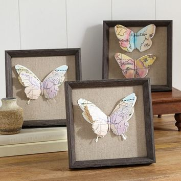 Cutout Butterfly Map Art, Set Of 3