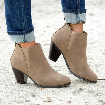 No Regrets Taupe Booties Shop Simply Me Boutique Shop SMB – Simply Me Boutique