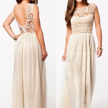 Lace Patchwork Low V Back Floor Length Chiffon Maxi Dress